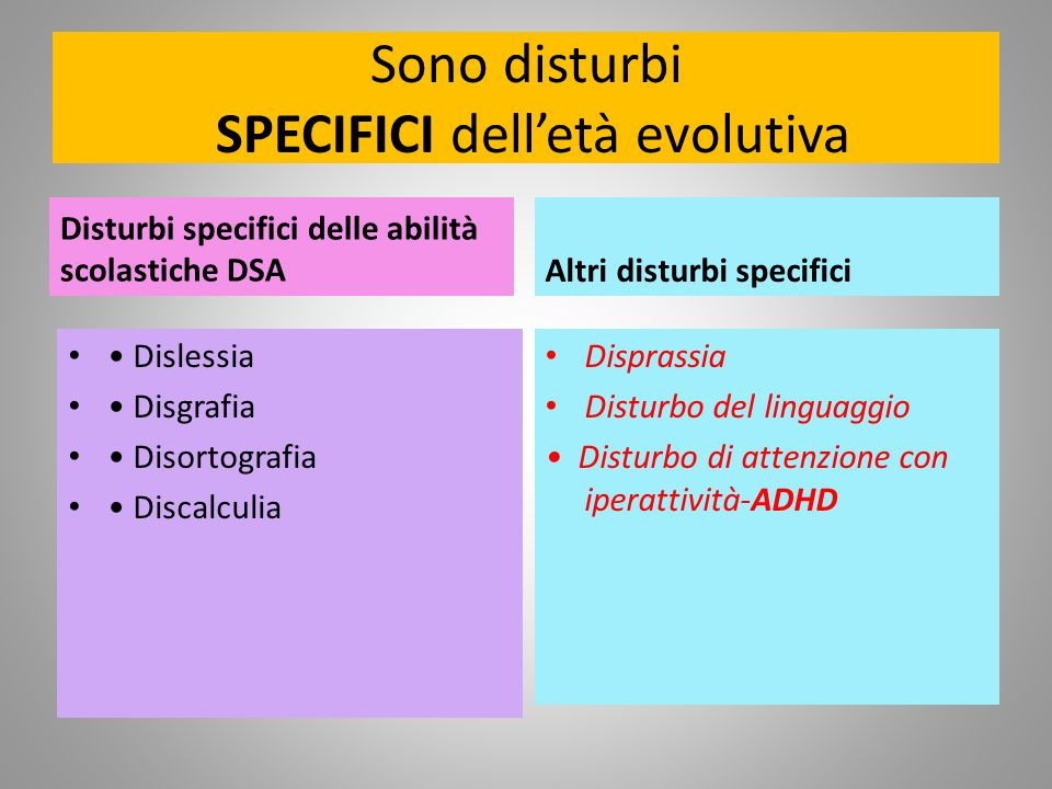 Sono disturbi SPECIFICI dell'età evolutiva