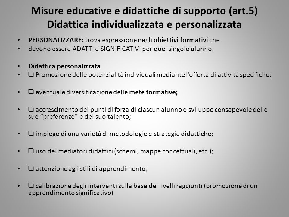 Misure educative e didattiche di supporto (art