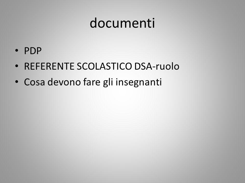 documenti PDP REFERENTE SCOLASTICO DSA-ruolo