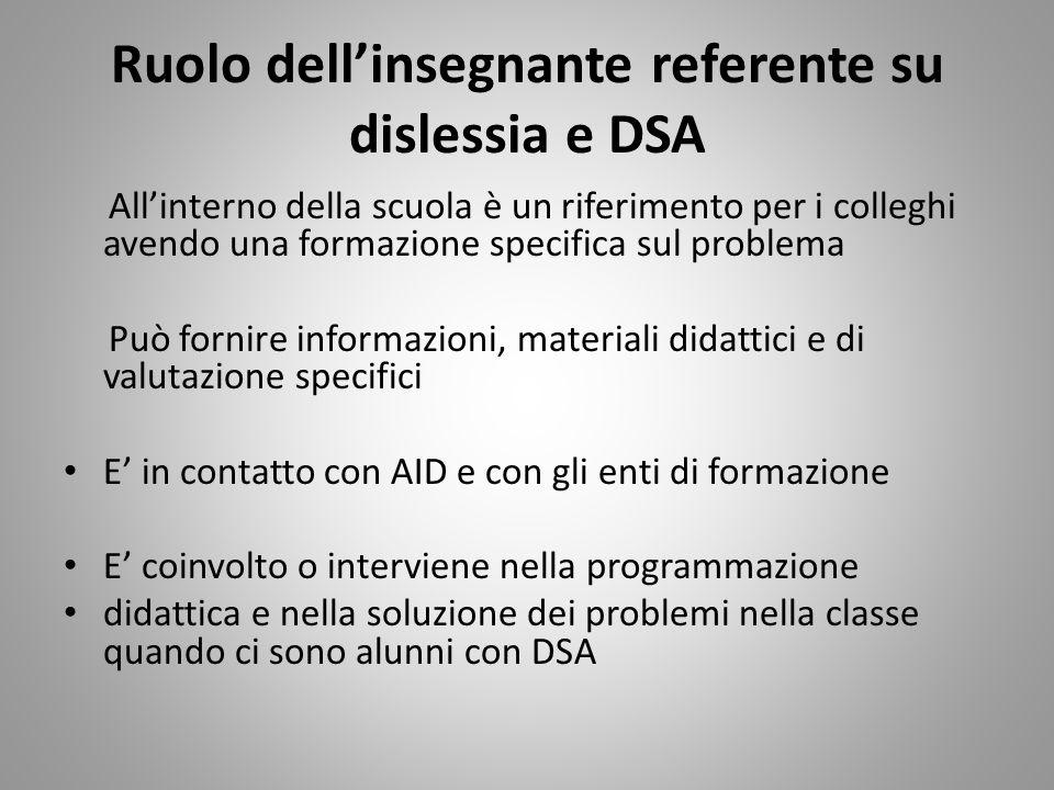 Ruolo dell'insegnante referente su dislessia e DSA