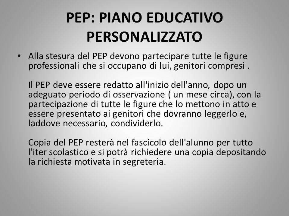 PEP: PIANO EDUCATIVO PERSONALIZZATO