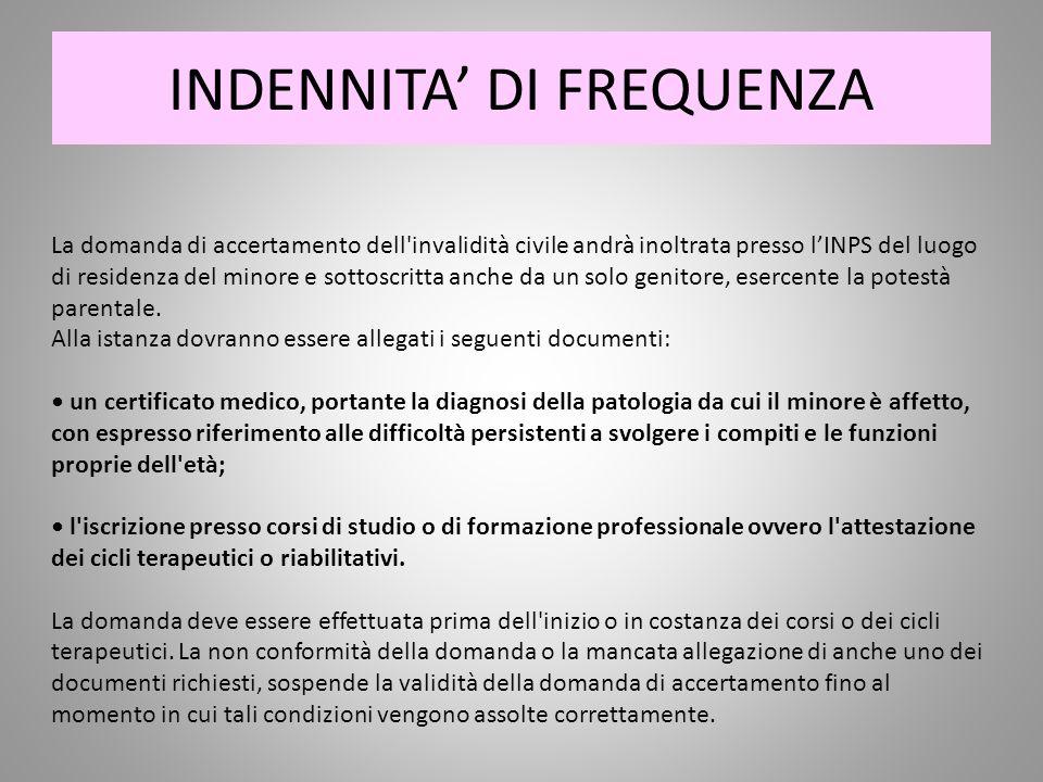 INDENNITA' DI FREQUENZA