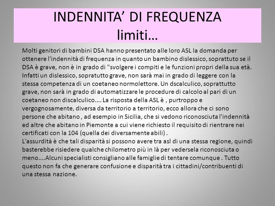 INDENNITA' DI FREQUENZA limiti…