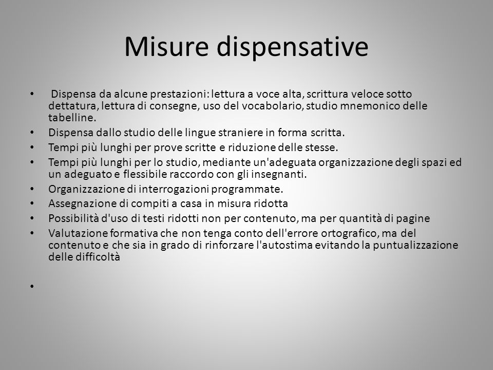Misure dispensative