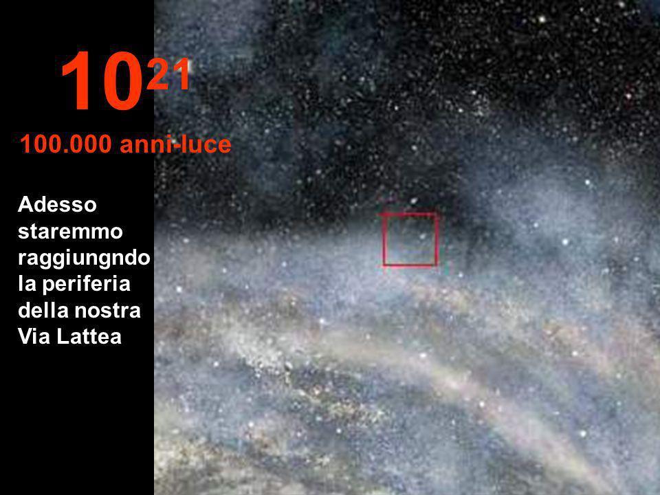 1021 100.000 anni-luce Adesso staremmo raggiungndo la periferia della nostra Via Lattea