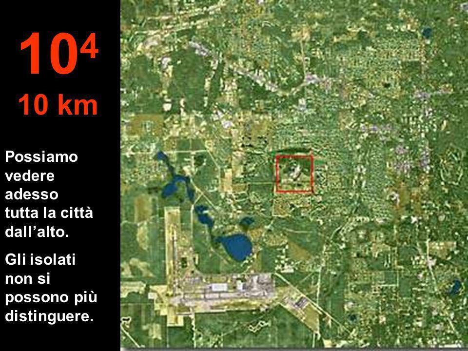 104 10 km Possiamo vedere adesso tutta la città dall'alto.