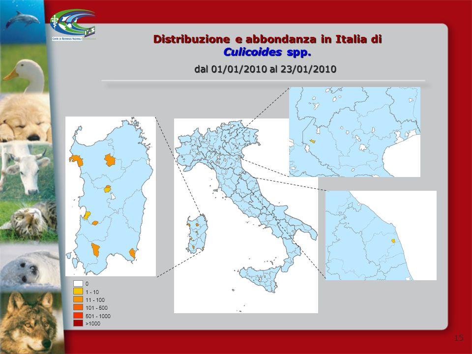 Distribuzione e abbondanza in Italia di Culicoides spp.