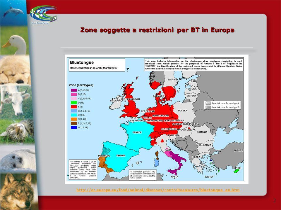 Zone soggette a restrizioni per BT in Europa