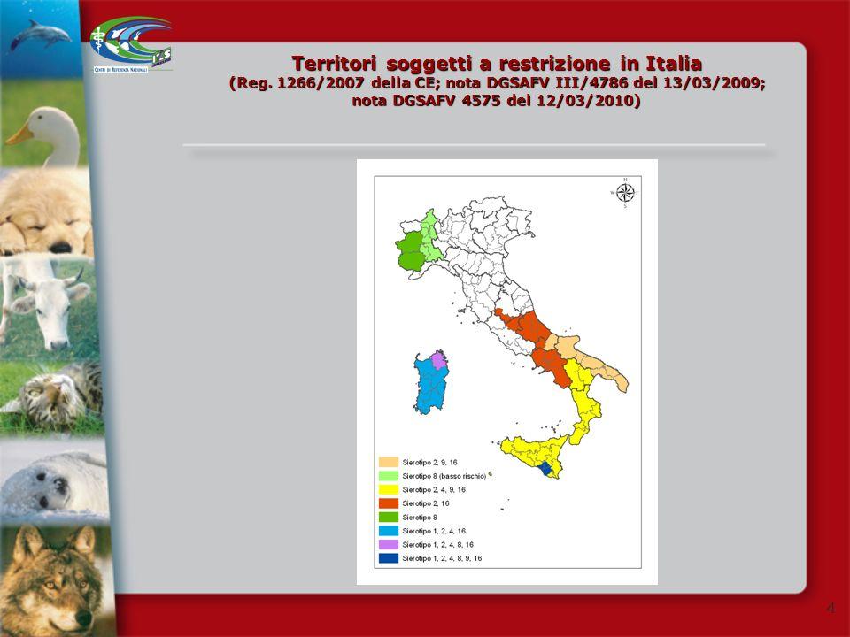 Territori soggetti a restrizione in Italia (Reg
