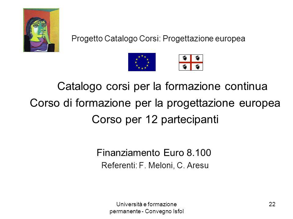 Progetto Catalogo Corsi: Progettazione europea