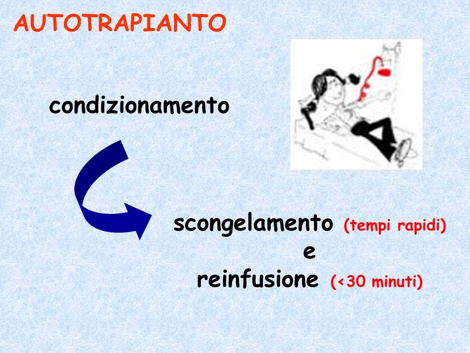 scongelamento (tempi rapidi) reinfusione (<30 minuti)