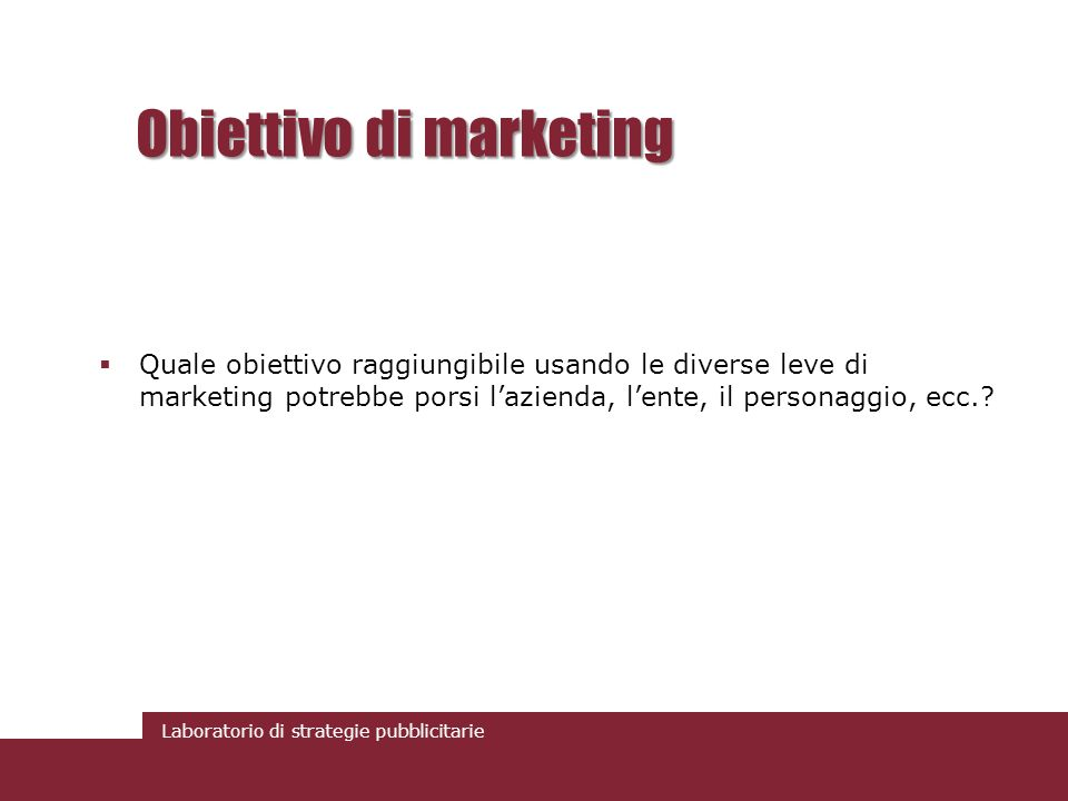 Obiettivo di marketing