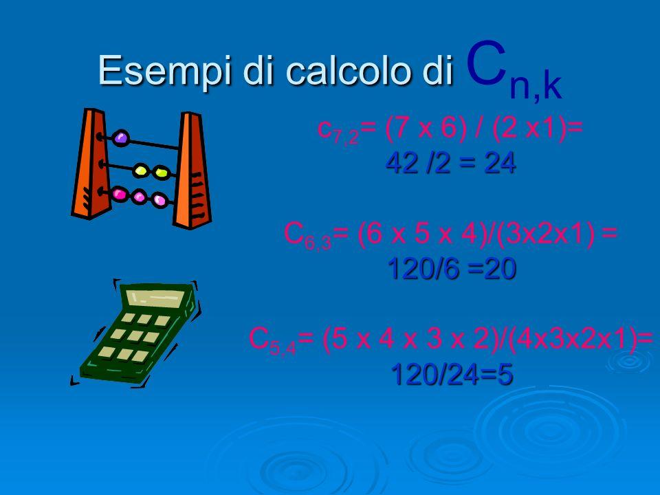 Esempi di calcolo di Cn,k