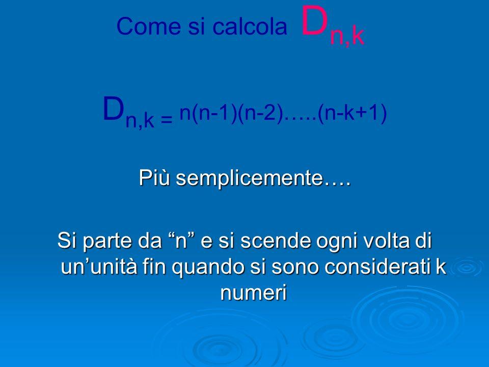 Dn,k = n(n-1)(n-2)…..(n-k+1)