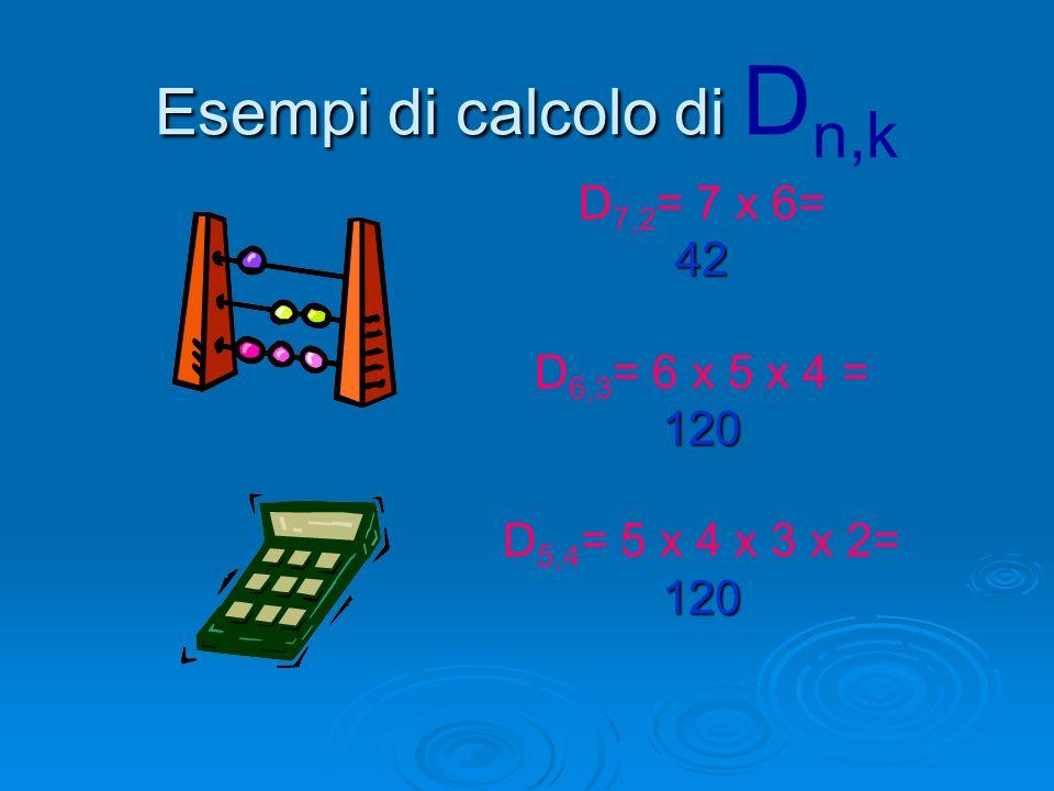 Esempi di calcolo di Dn,k