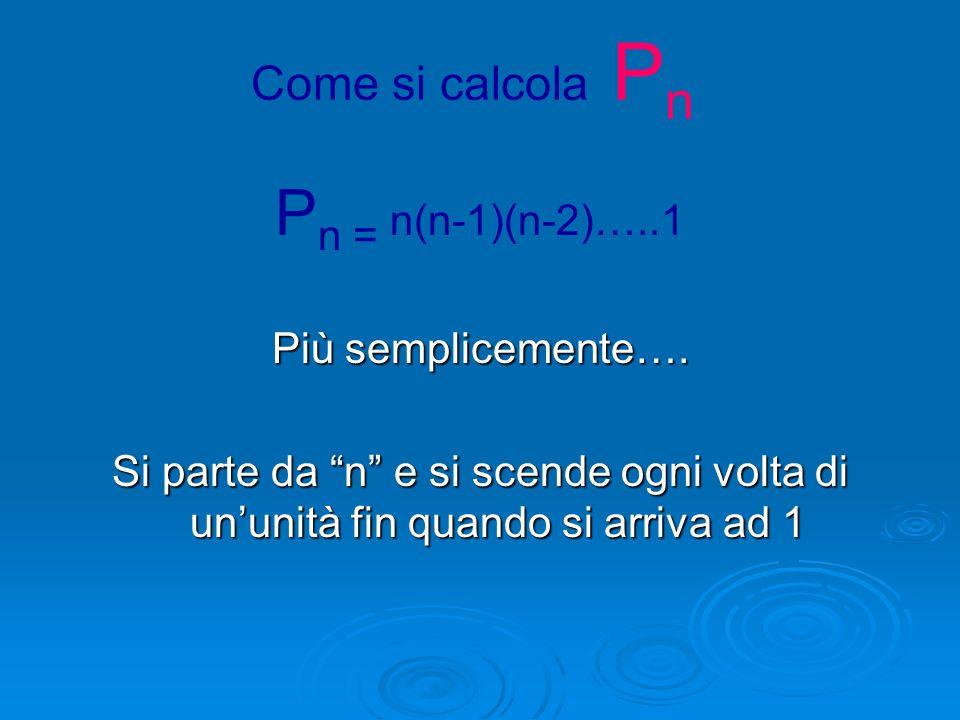 Pn = n(n-1)(n-2)…..1 Come si calcola Pn Più semplicemente….