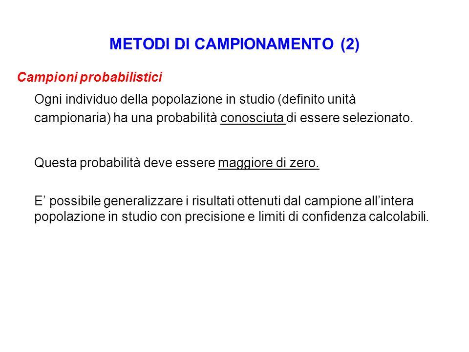 METODI DI CAMPIONAMENTO (2)