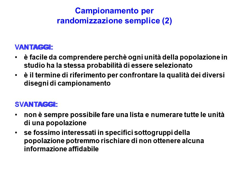 Campionamento per randomizzazione semplice (2)