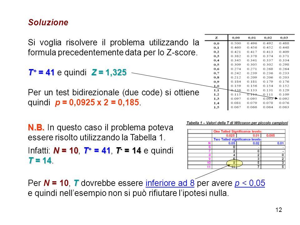 Soluzione Si voglia risolvere il problema utilizzando la formula precedentemente data per lo Z-score.
