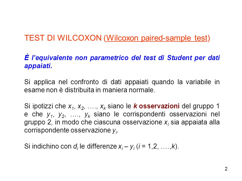 TEST DI WILCOXON (Wilcoxon paired-sample test)
