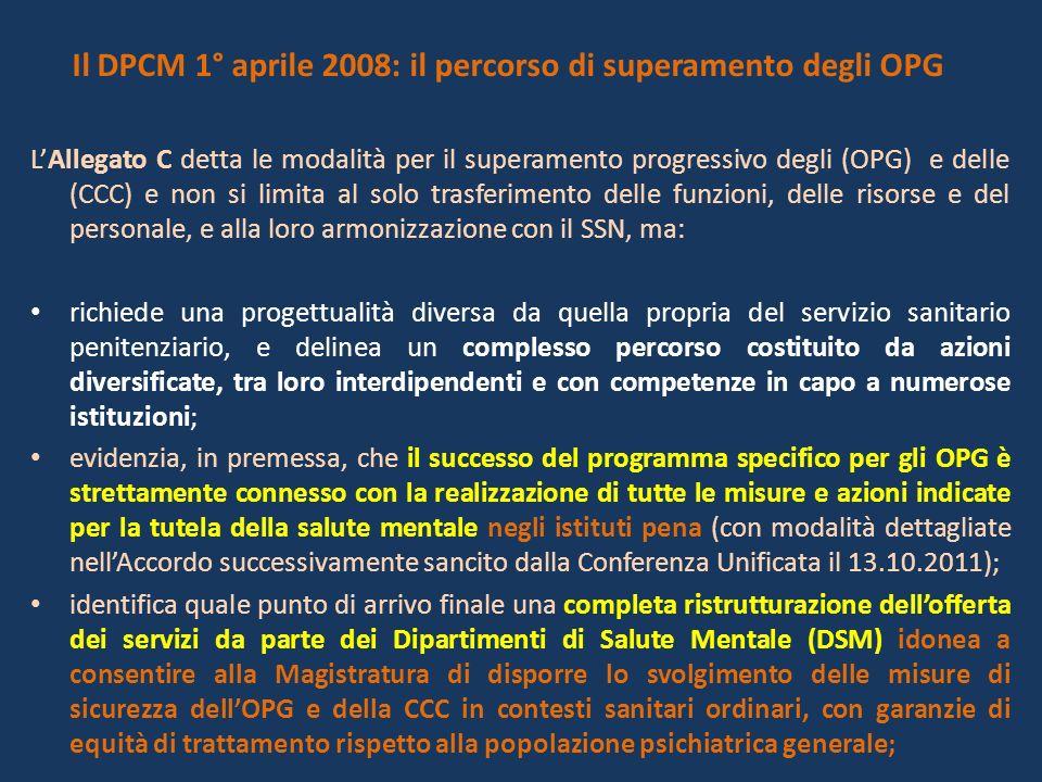 Il DPCM 1° aprile 2008: il percorso di superamento degli OPG