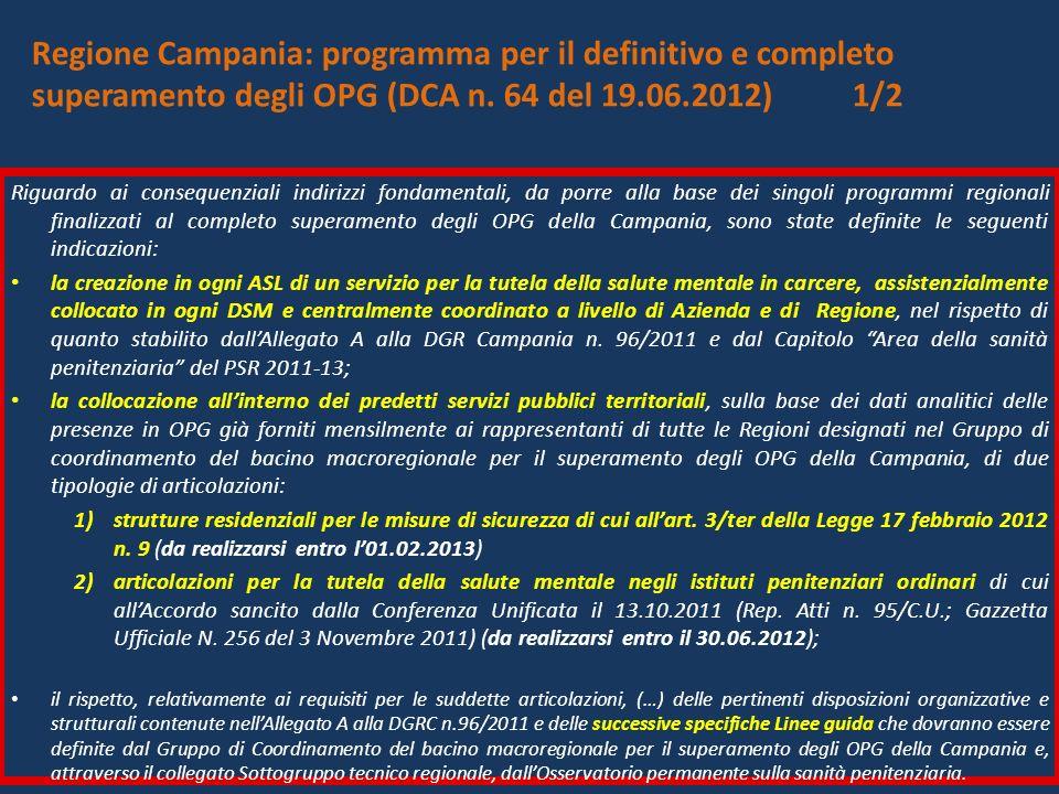 Regione Campania: programma per il definitivo e completo superamento degli OPG (DCA n. 64 del 19.06.2012) 1/2