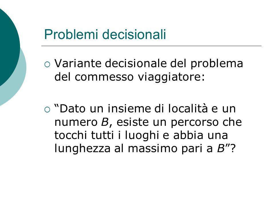 Problemi decisionali Variante decisionale del problema del commesso viaggiatore: