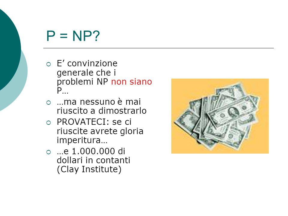 P = NP E' convinzione generale che i problemi NP non siano P…