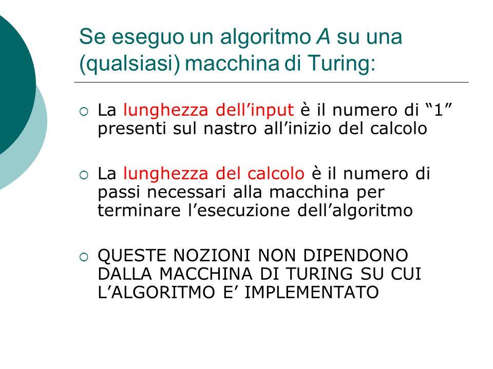 Se eseguo un algoritmo A su una (qualsiasi) macchina di Turing:
