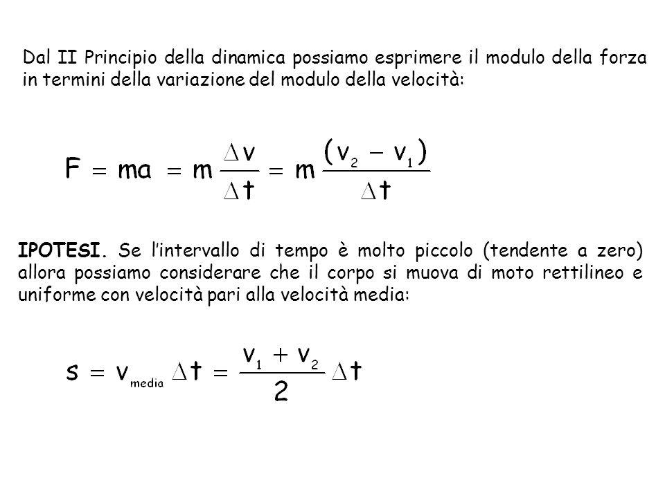 Dal II Principio della dinamica possiamo esprimere il modulo della forza in termini della variazione del modulo della velocità: