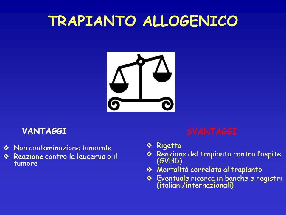 TRAPIANTO ALLOGENICO VANTAGGI SVANTAGGI Rigetto