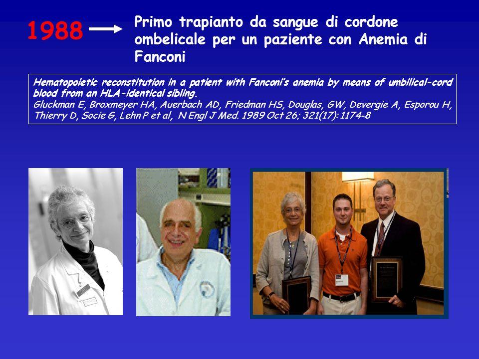 Primo trapianto da sangue di cordone ombelicale per un paziente con Anemia di Fanconi