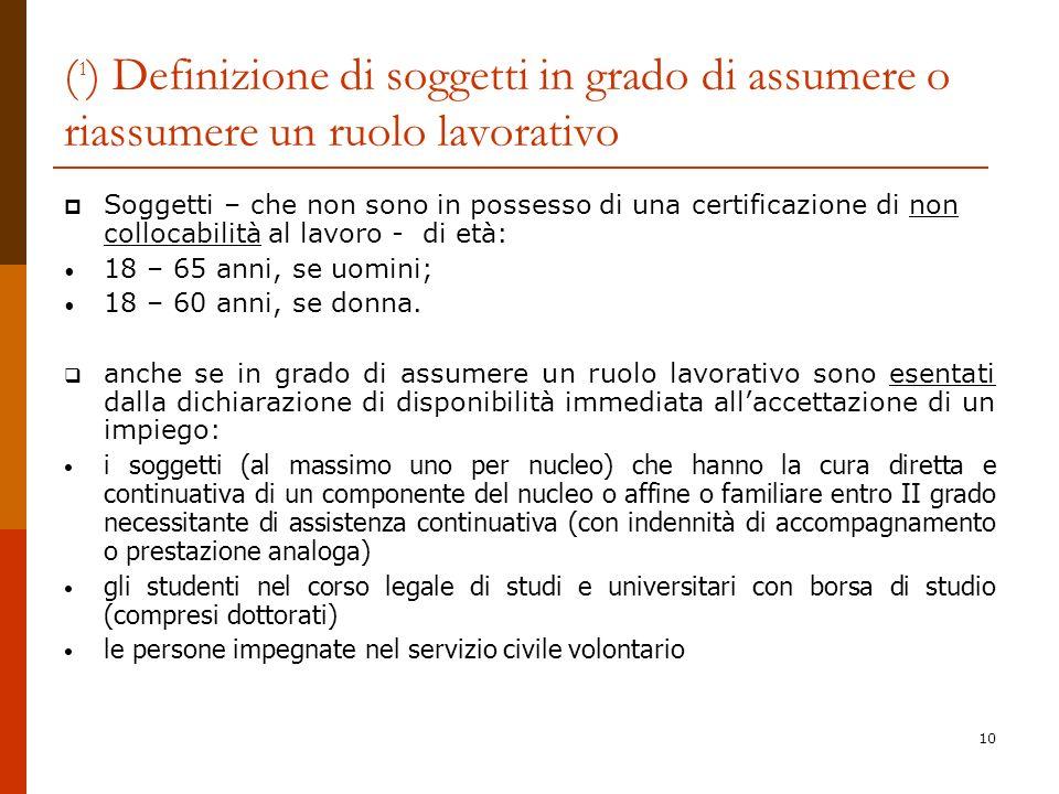 (1) Definizione di soggetti in grado di assumere o riassumere un ruolo lavorativo