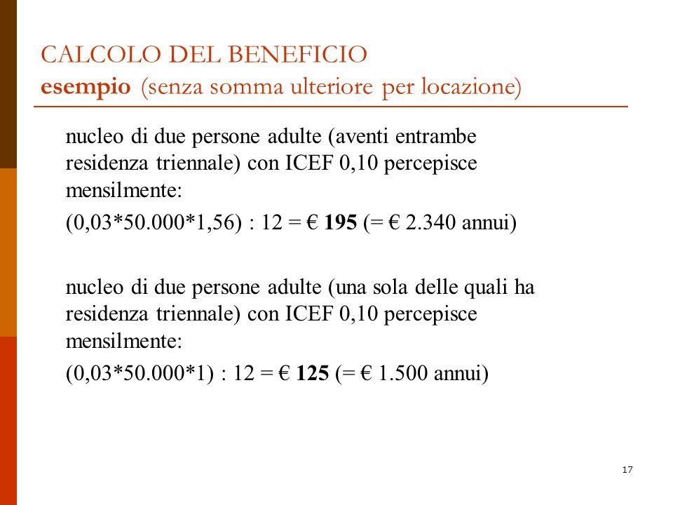 CALCOLO DEL BENEFICIO esempio (senza somma ulteriore per locazione)