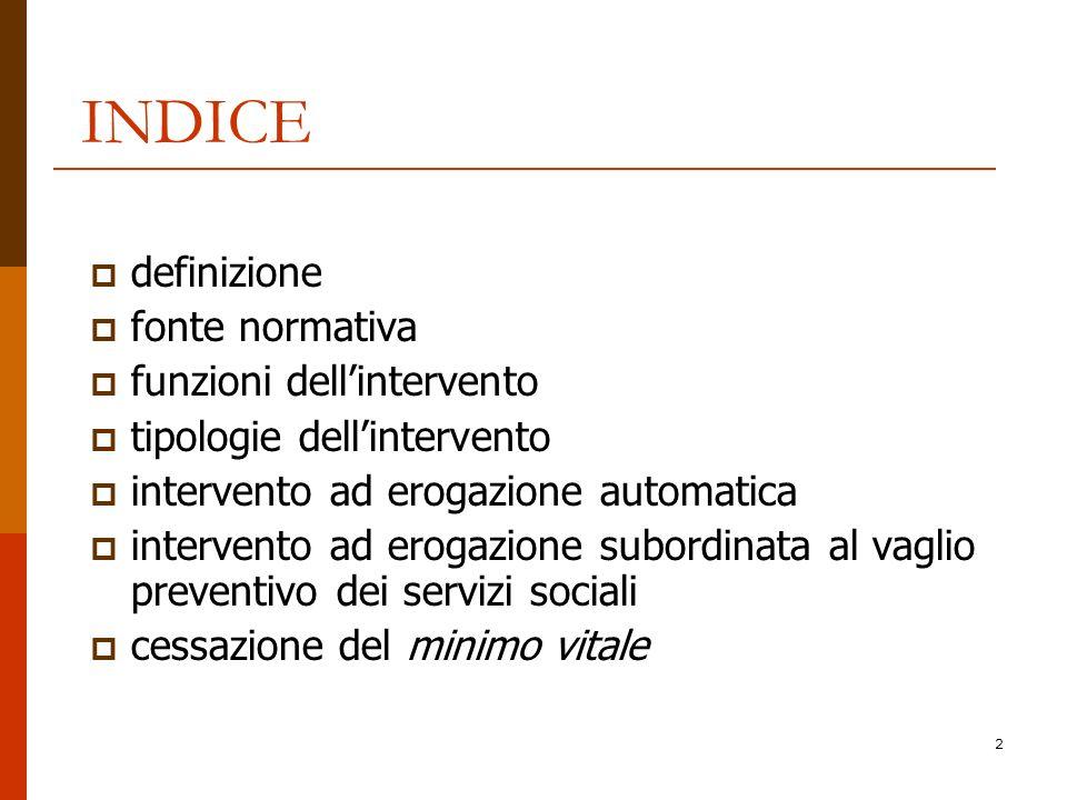INDICE definizione fonte normativa funzioni dell'intervento