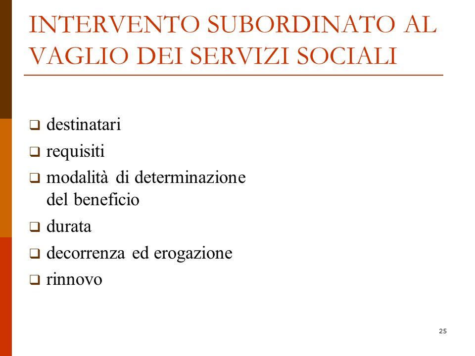 INTERVENTO SUBORDINATO AL VAGLIO DEI SERVIZI SOCIALI