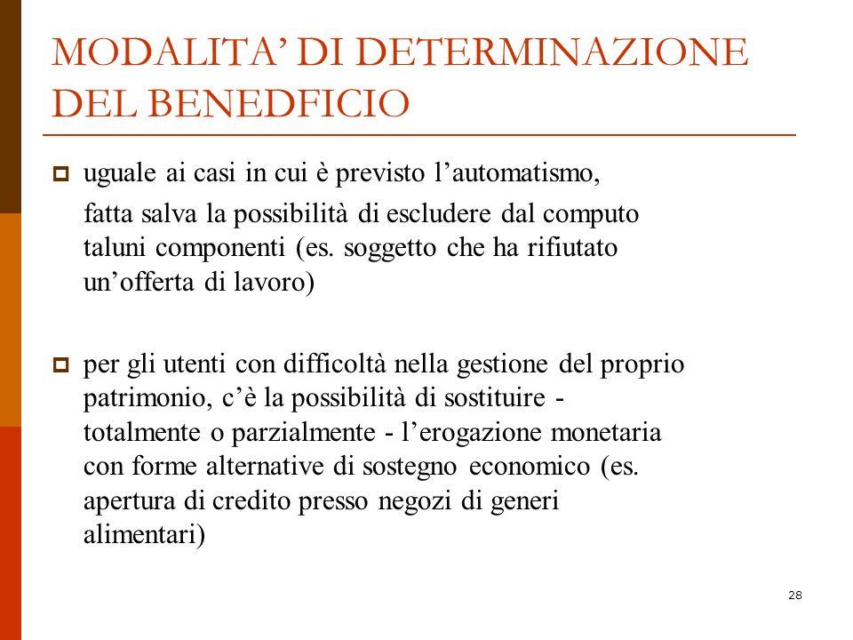 MODALITA' DI DETERMINAZIONE DEL BENEDFICIO