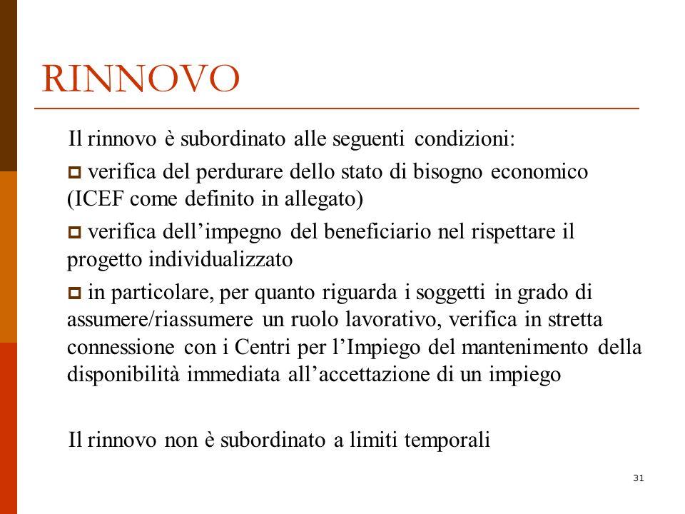 RINNOVO Il rinnovo è subordinato alle seguenti condizioni: