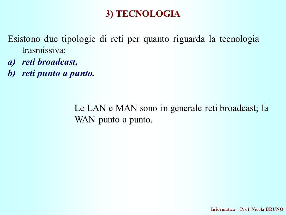 3) TECNOLOGIA Esistono due tipologie di reti per quanto riguarda la tecnologia trasmissiva: reti broadcast,