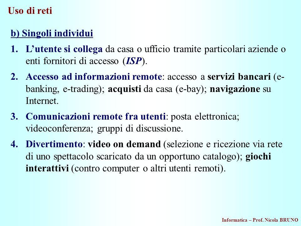Uso di reti b) Singoli individui. L'utente si collega da casa o ufficio tramite particolari aziende o enti fornitori di accesso (ISP).