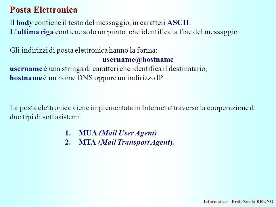Posta Elettronica Il body contiene il testo del messaggio, in caratteri ASCII.