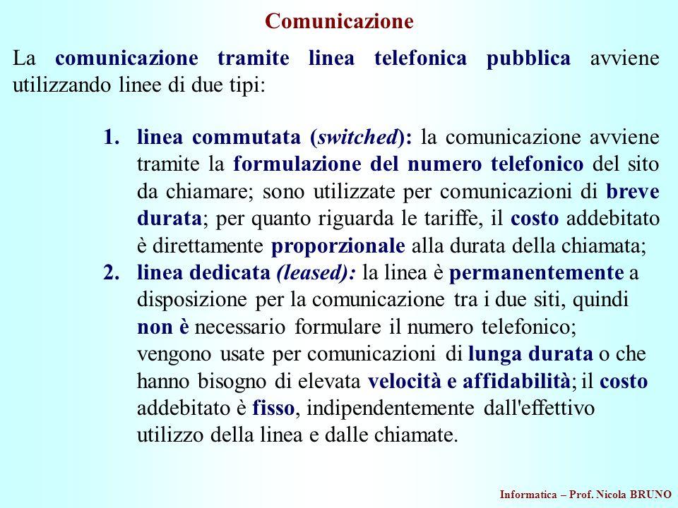 Comunicazione La comunicazione tramite linea telefonica pubblica avviene utilizzando linee di due tipi: