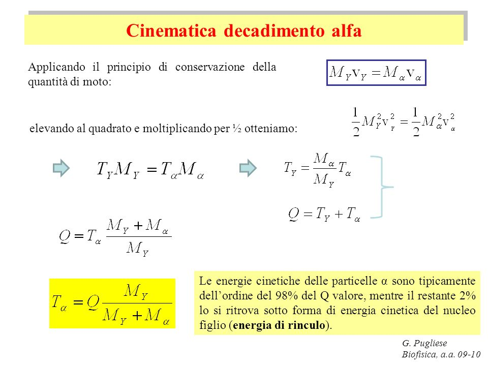 Cinematica decadimento alfa