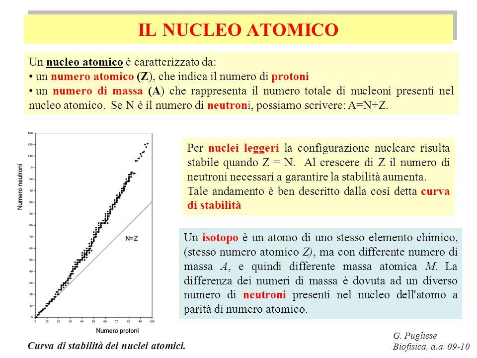 IL NUCLEO ATOMICO Un nucleo atomico è caratterizzato da:
