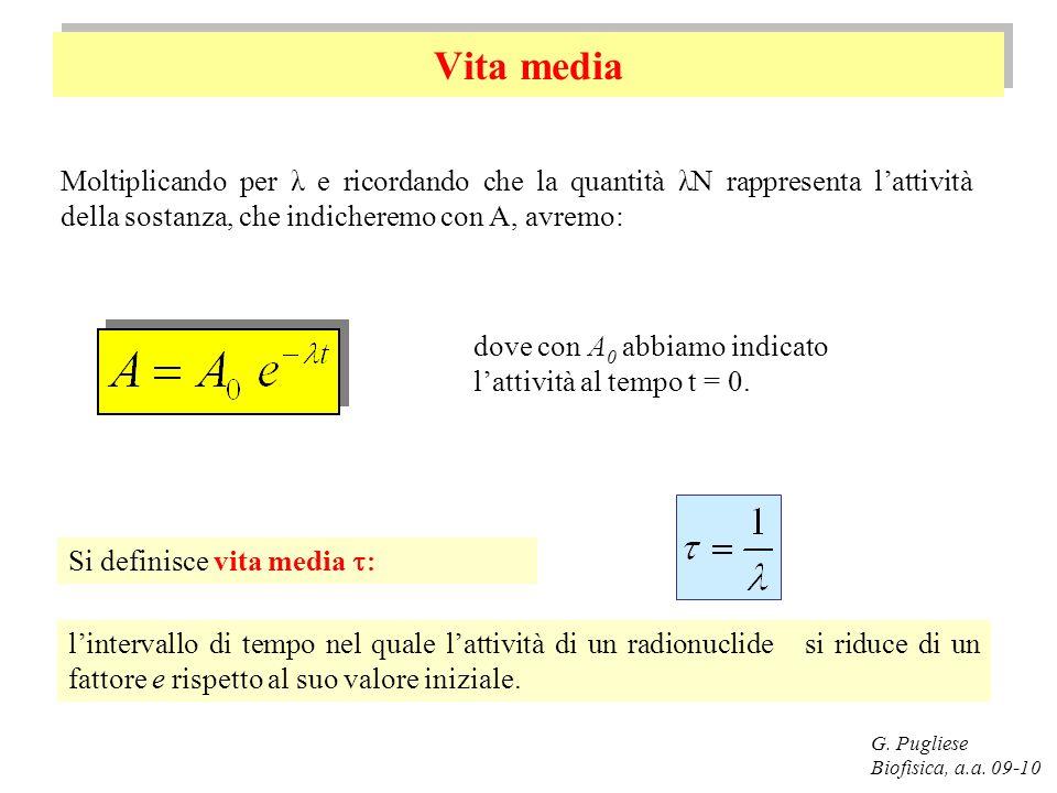 Vita media Moltiplicando per λ e ricordando che la quantità λN rappresenta l'attività della sostanza, che indicheremo con A, avremo: