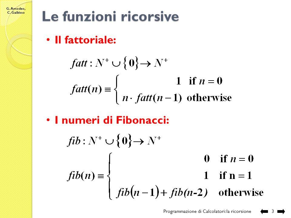 Le funzioni ricorsive Il fattoriale: I numeri di Fibonacci: