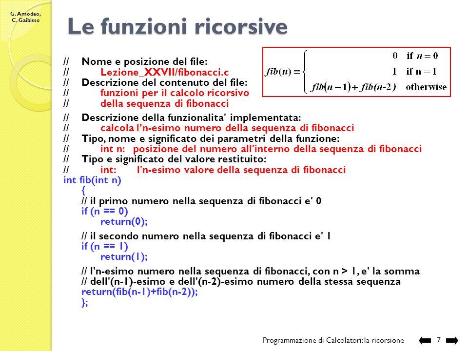 Le funzioni ricorsive // Nome e posizione del file: