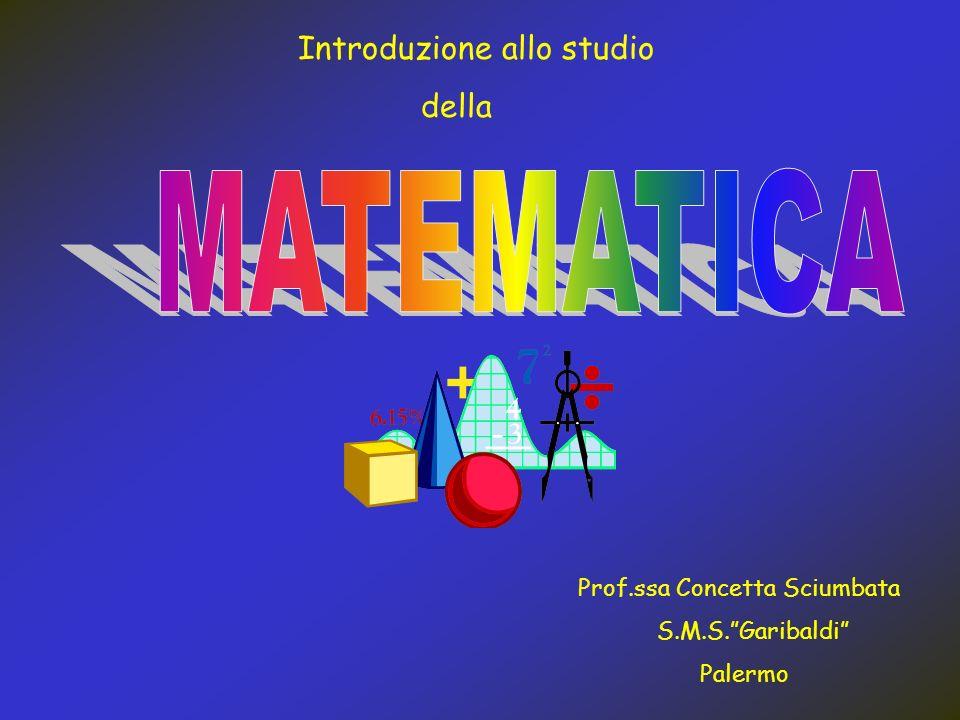 MATEMATICA Introduzione allo studio della Prof.ssa Concetta Sciumbata