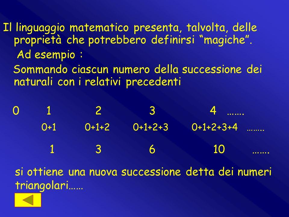 si ottiene una nuova successione detta dei numeri triangolari……