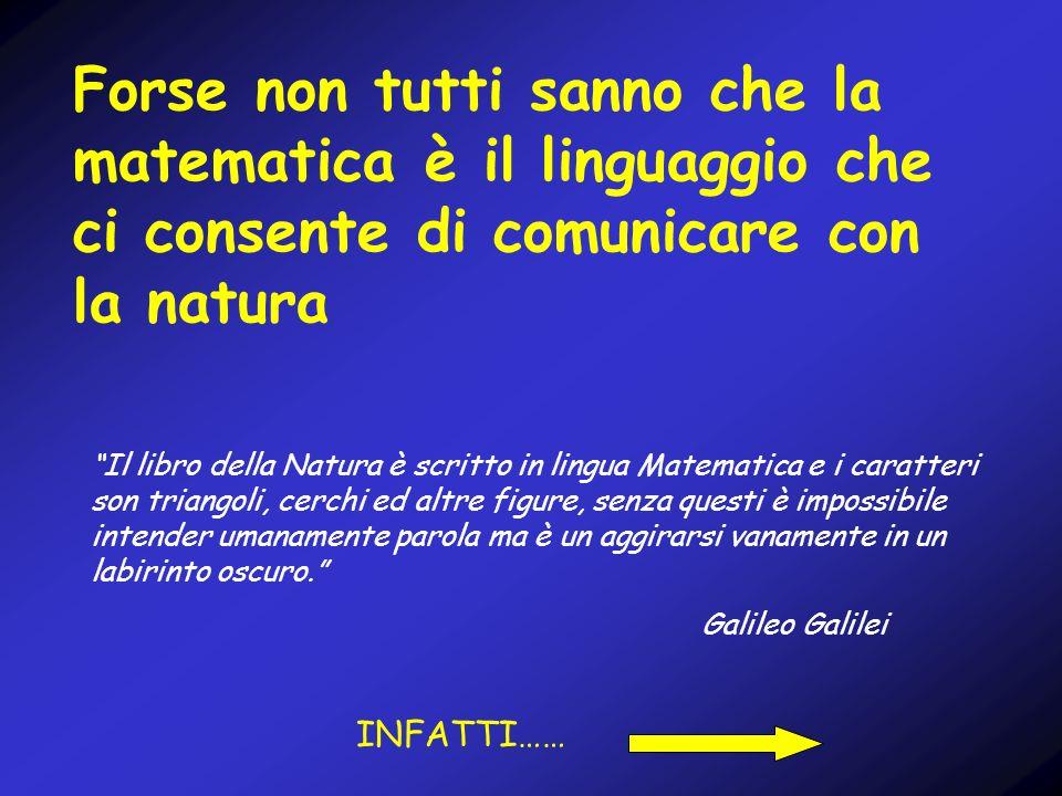 Forse non tutti sanno che la matematica è il linguaggio che ci consente di comunicare con la natura